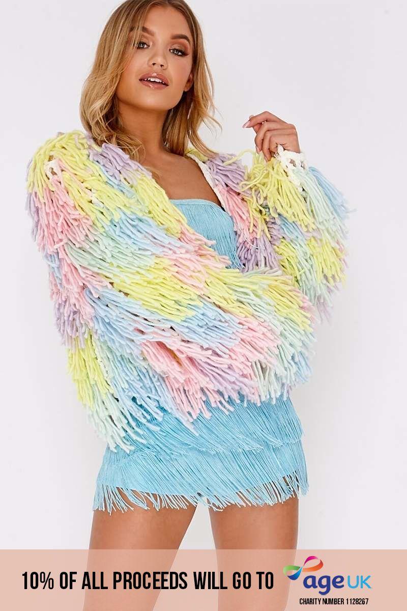 multi pastel shaggy knit cropped cardigan