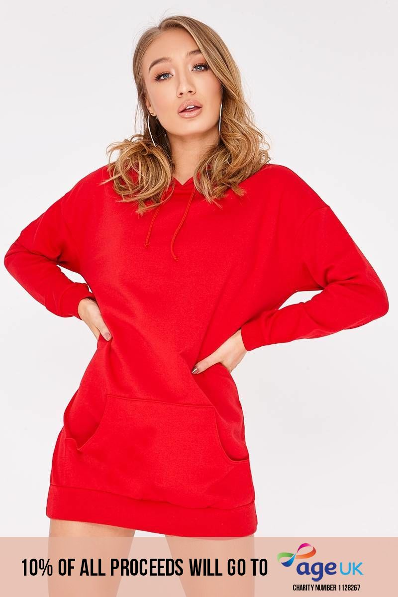 red oversized hoodie dress