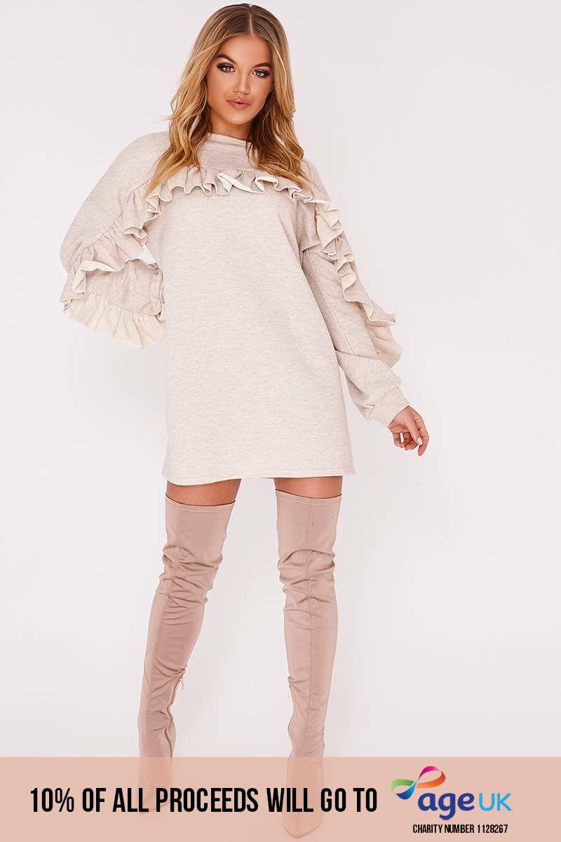 beige frill detail jumper dress