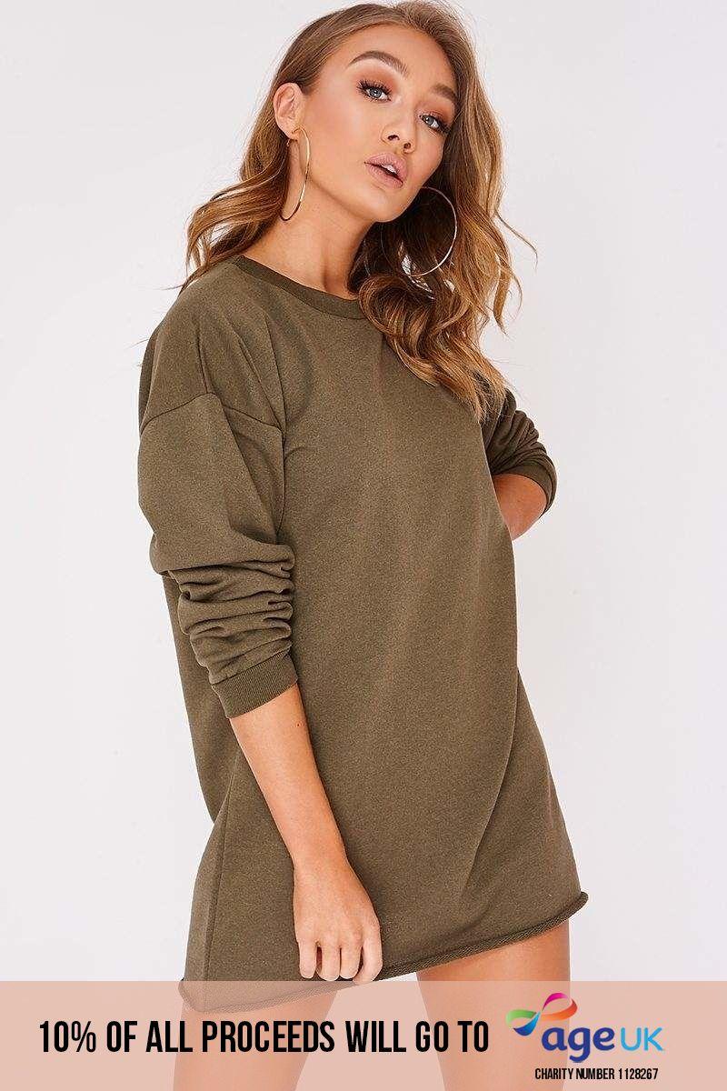 khaki oversized sweater dress