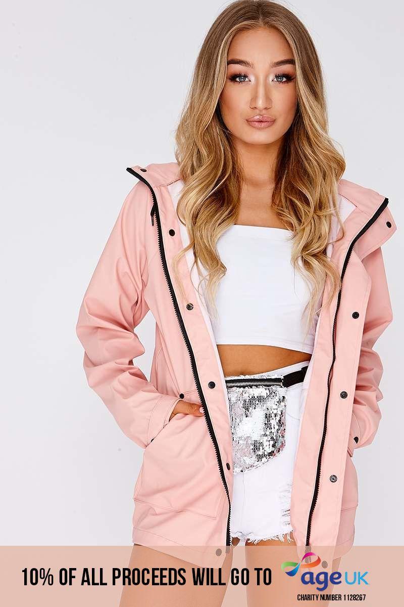 baby pink matte rain mac