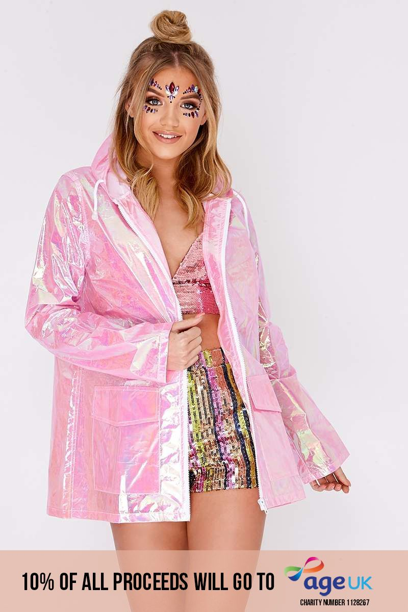 pink holographic rain mac
