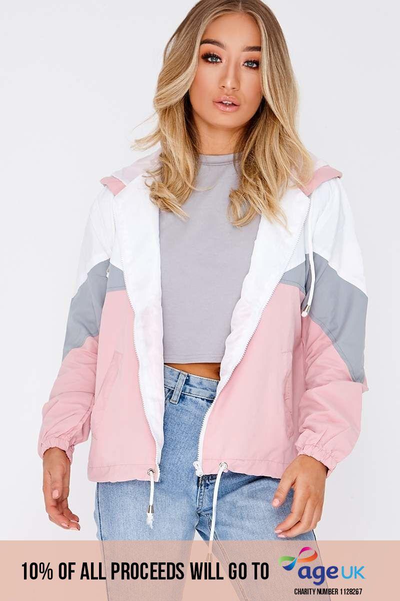 pink colour block windbreaker