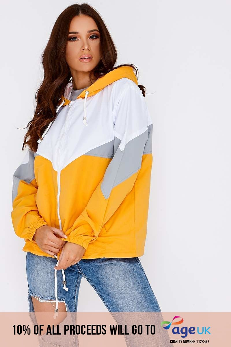 IASON YELLOW COLOUR BLOCK WINDBREAKER