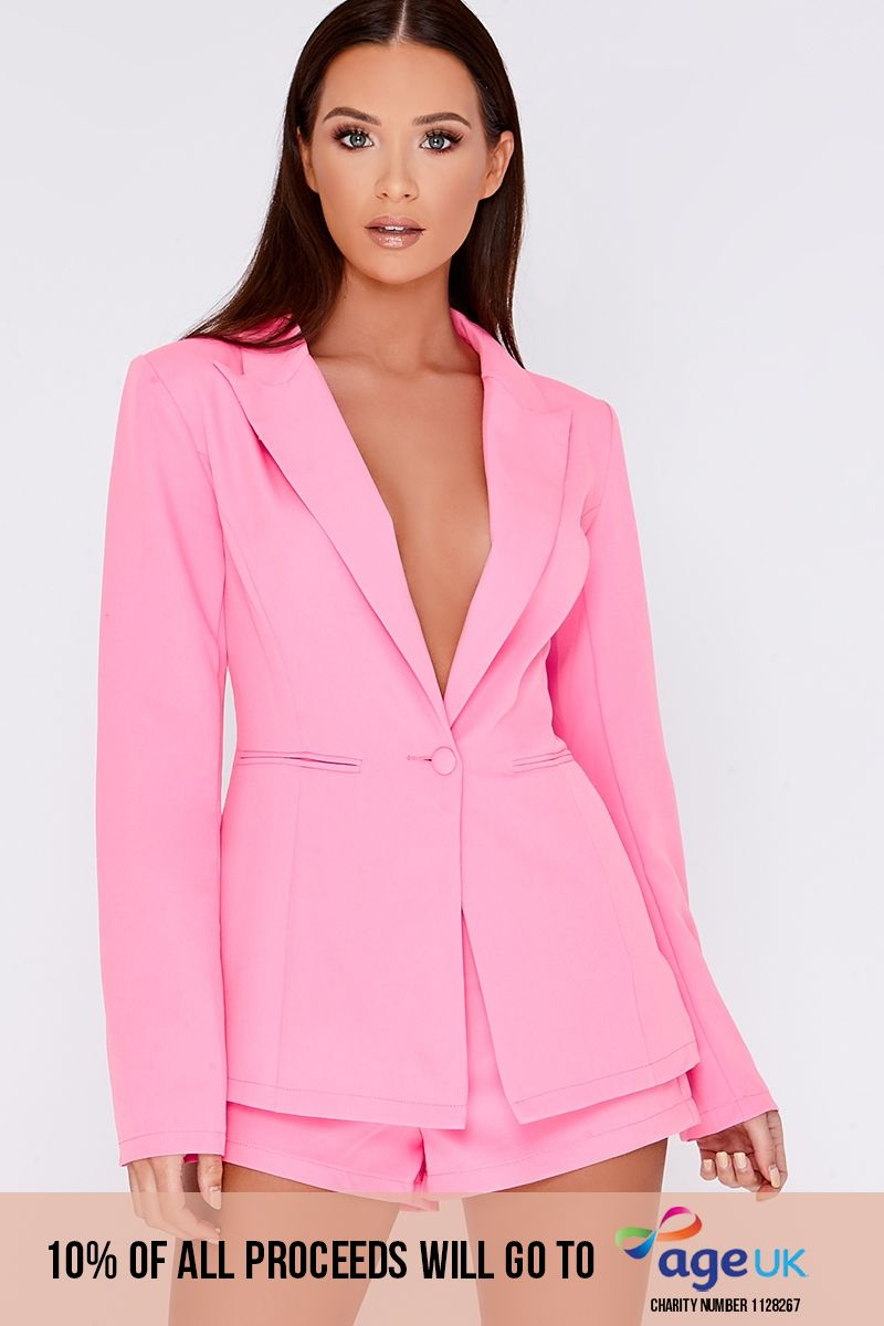 pink tailored blazer