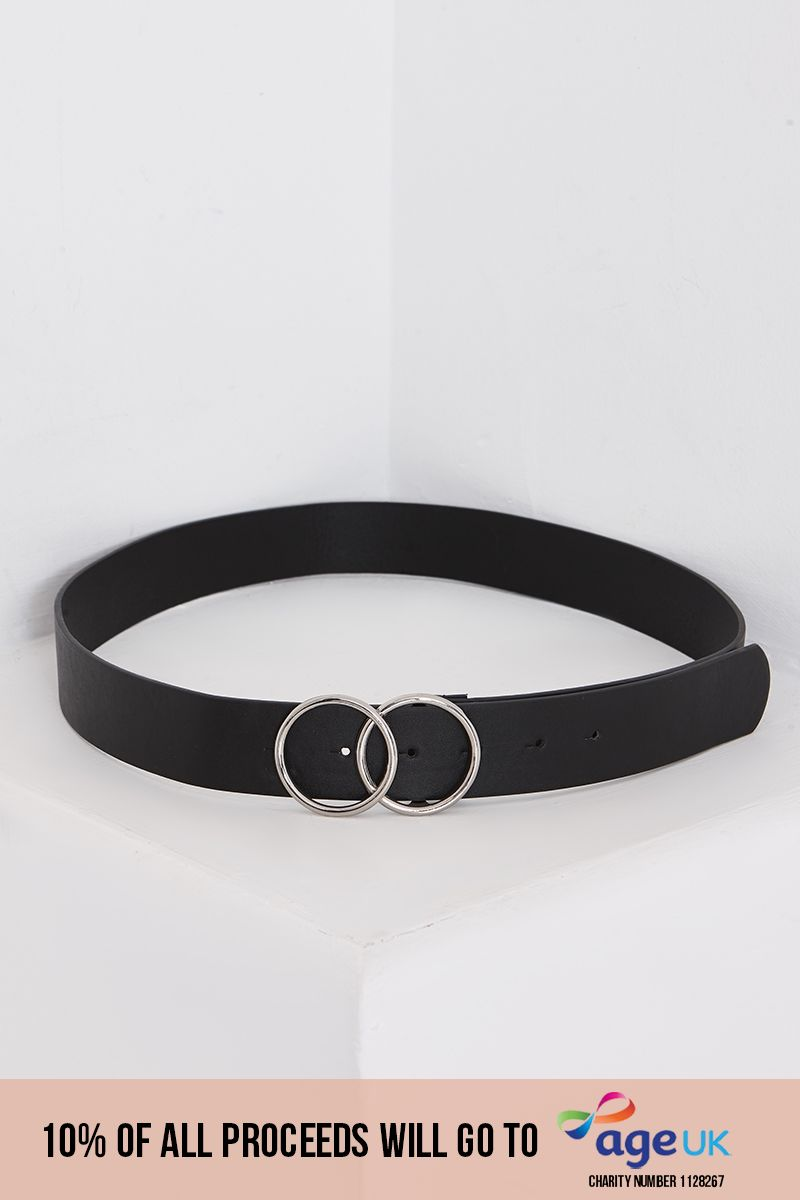 BLACK FAUX LEATHER DOUBLE RING BUCKLE BELT