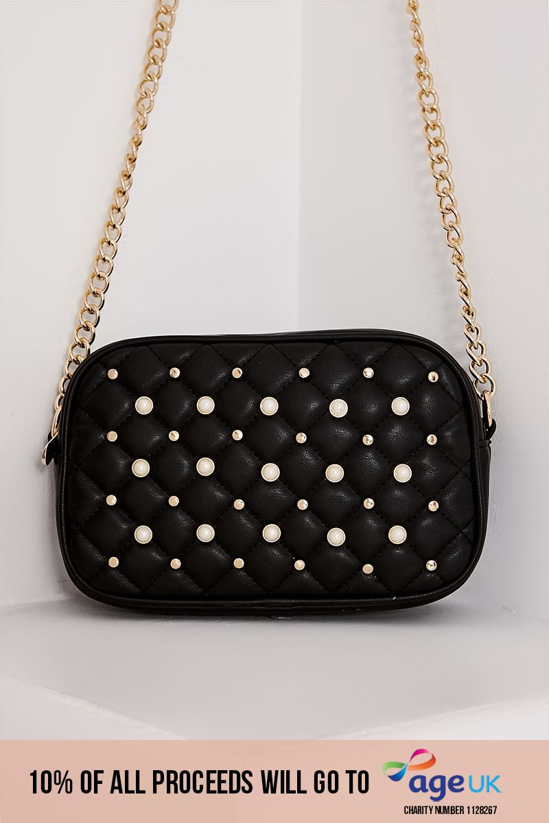 BLACK FAUX LEATHER STUD AND PEARL DETAIL BAG
