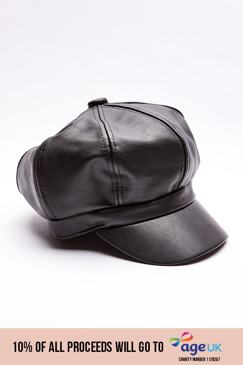 BLACK PU BAKER BOY HAT