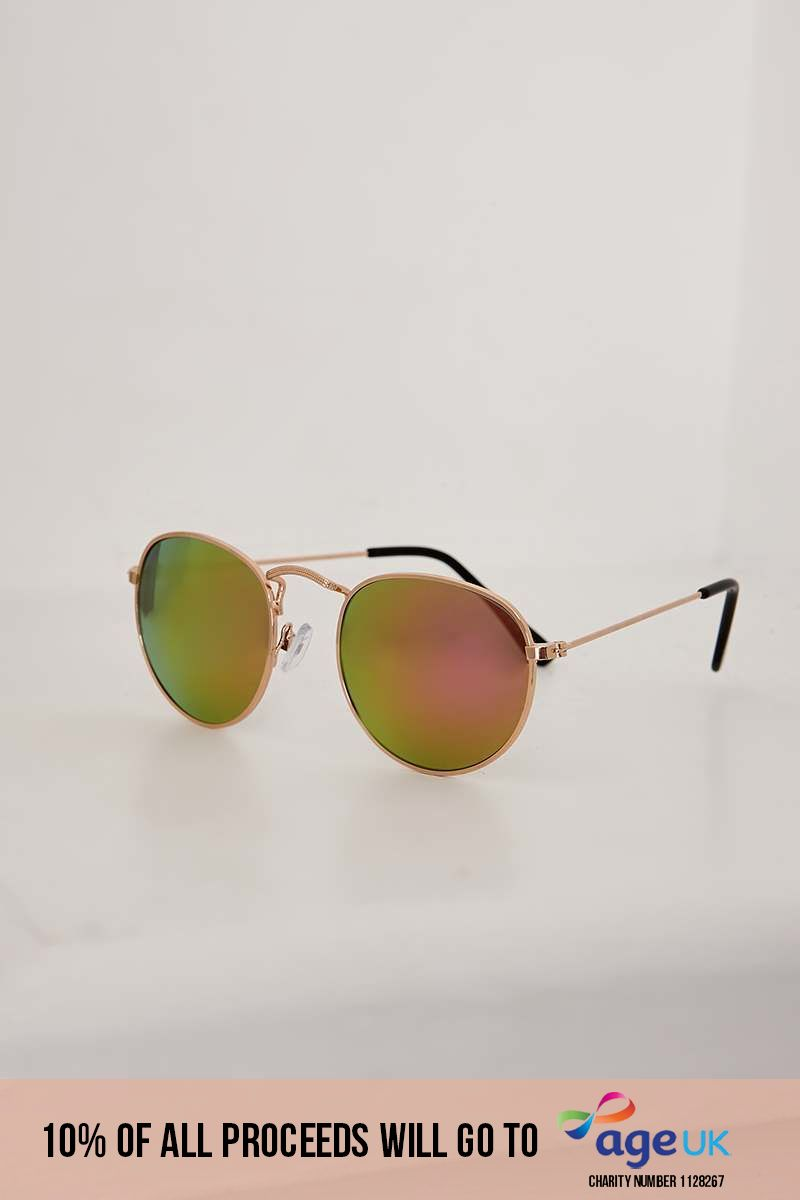 GOLD ROUNDED MIRRORED LENS RETRO SUNGLASSES