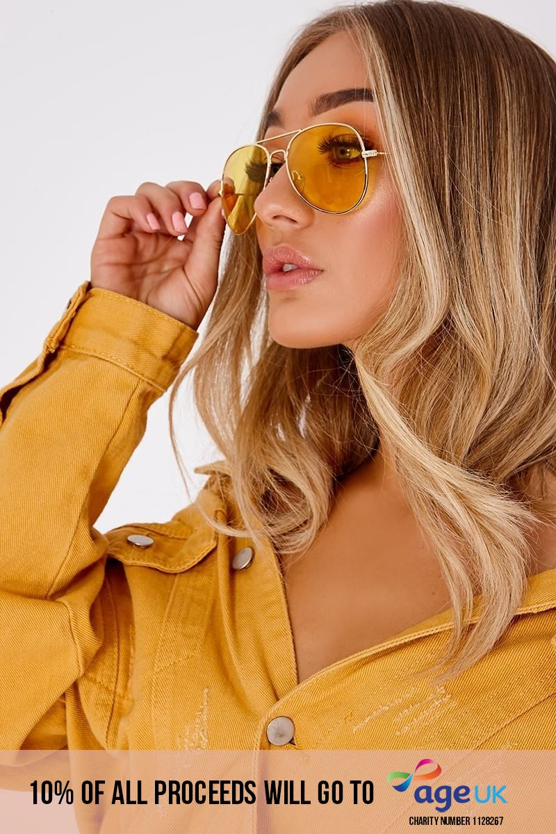 YELLOW TINTED LENS AVIATORS