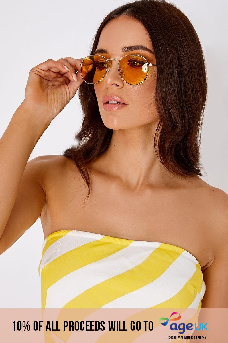 YELLOW ROUNDED LENS RETRO SUNGLASSES