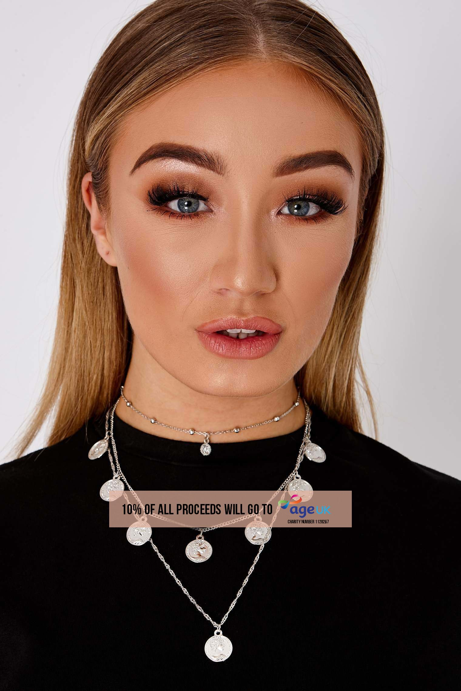 SILVER LONG LAYER CHOKER COIN NECKLACE