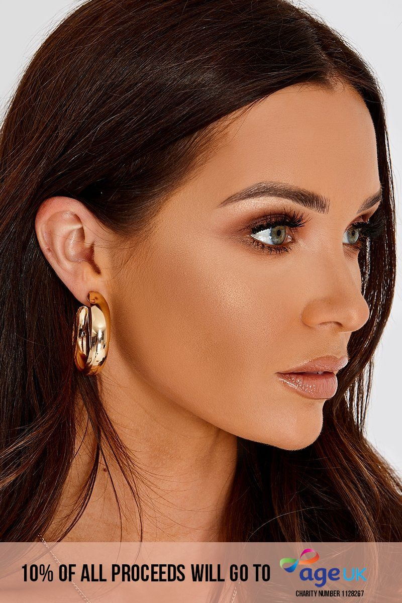 GOLD WIDE CURVED HOOP EARRINGS