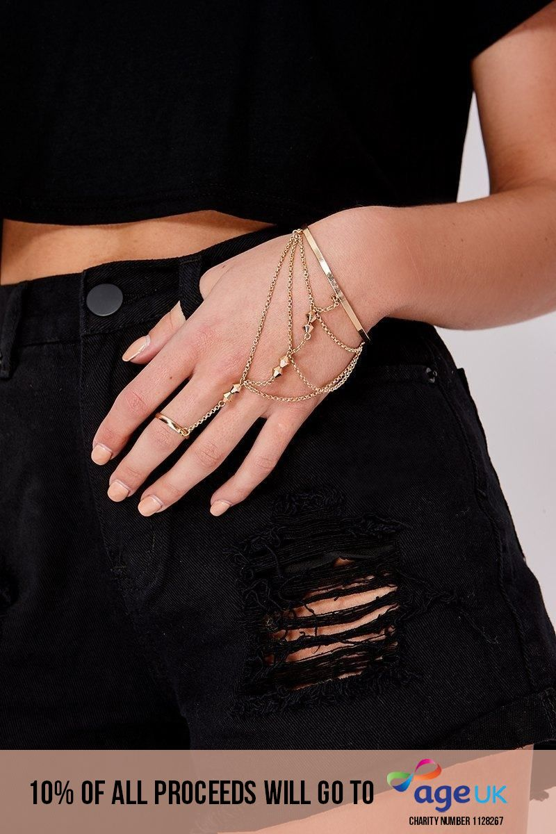GOLD BEADED HAND CHAIN