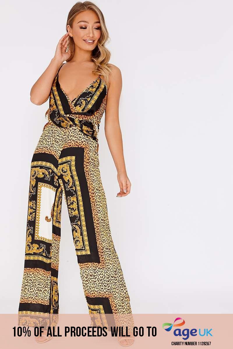black satin chain print wrap front jumpsuit
