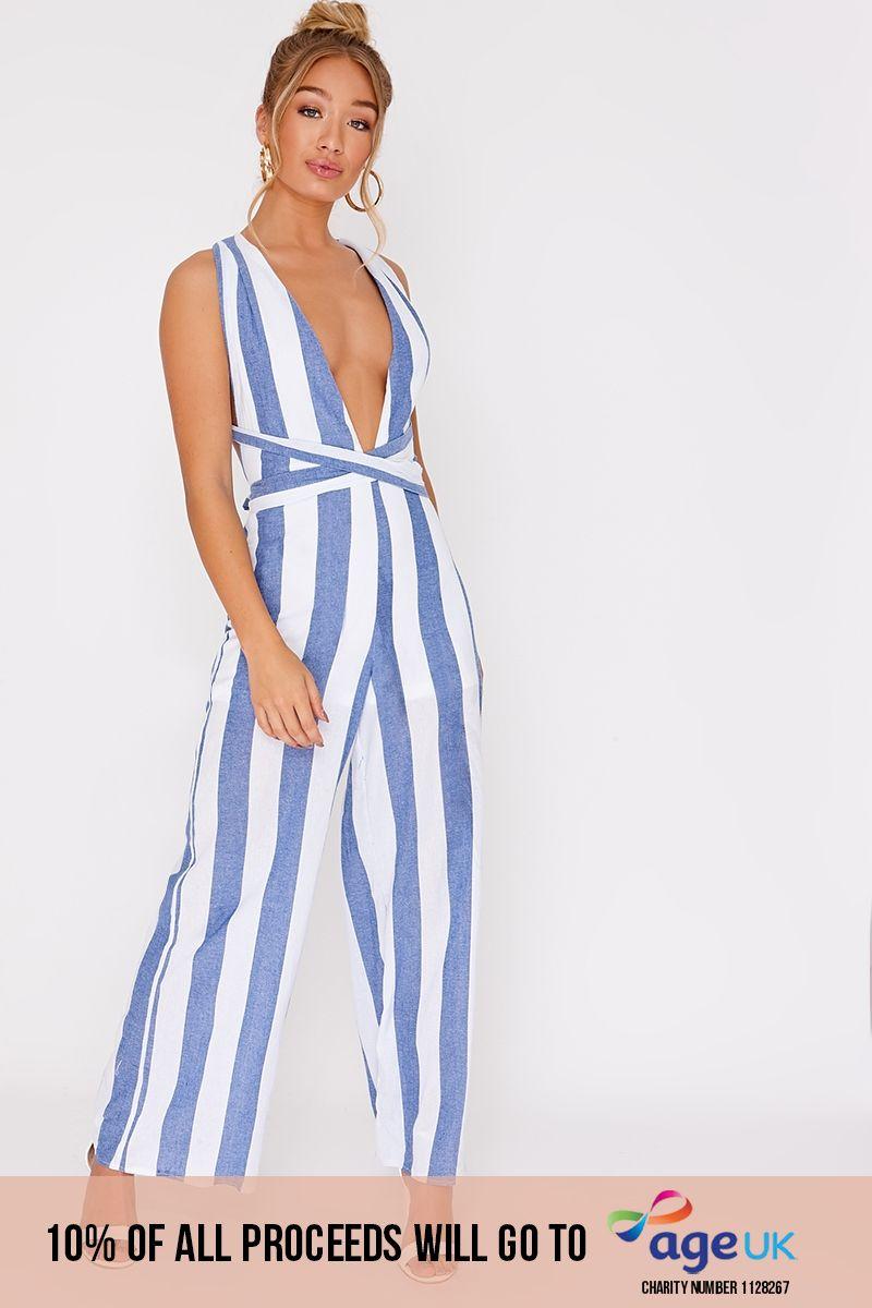 blue stripe cross front jumpsuit