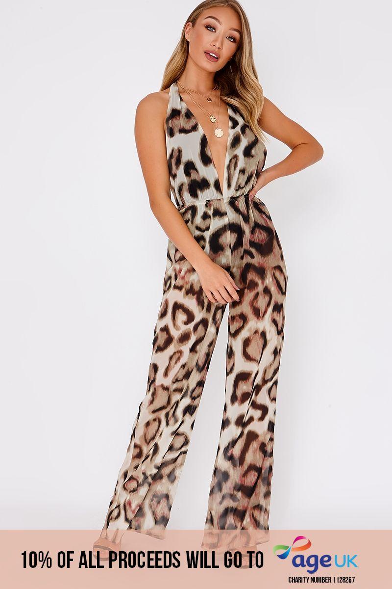 brown leopard print halterneck backless jumpsuit