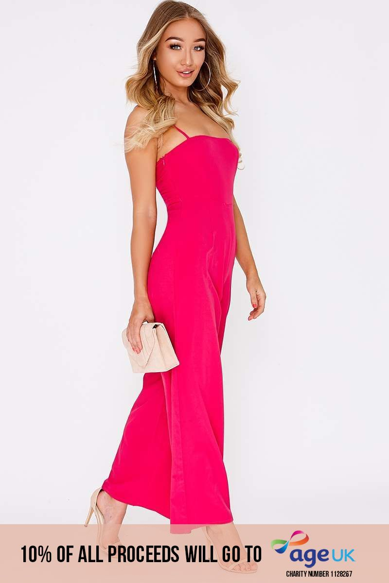 pink square neck flared leg jumpsuit
