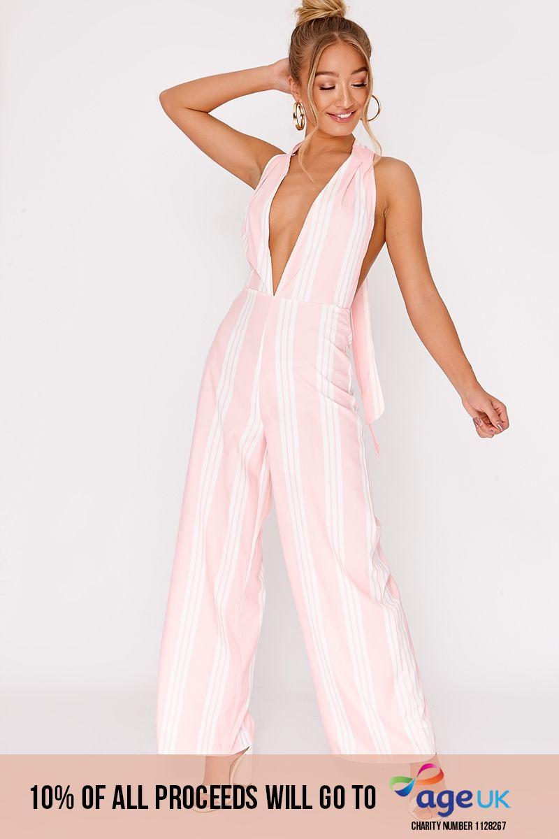 pink stripe plunge halterneck jumpsuit