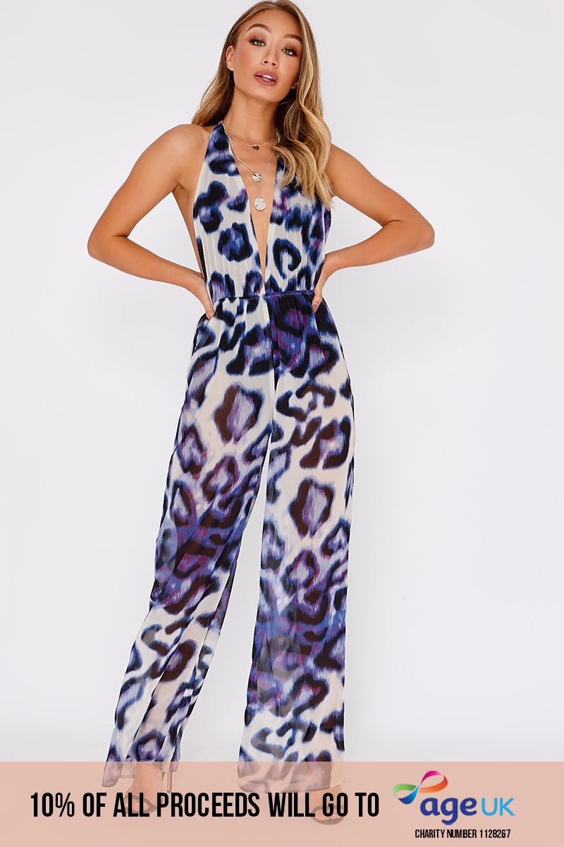 purple leopard print halterneck backless jumpsuit