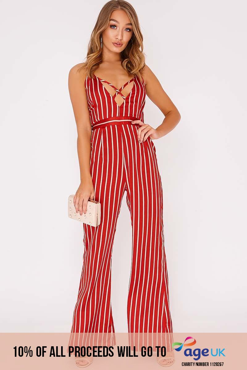 red stripe satin cross front palazzo jumpsuit