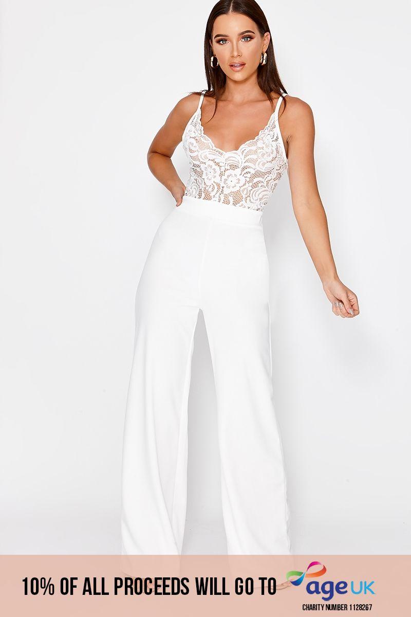 white lace plunge jumpsuit