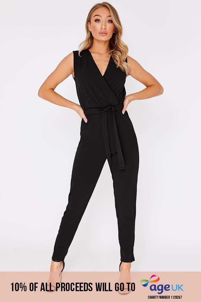 black wrap front cigarette leg jumpsuit