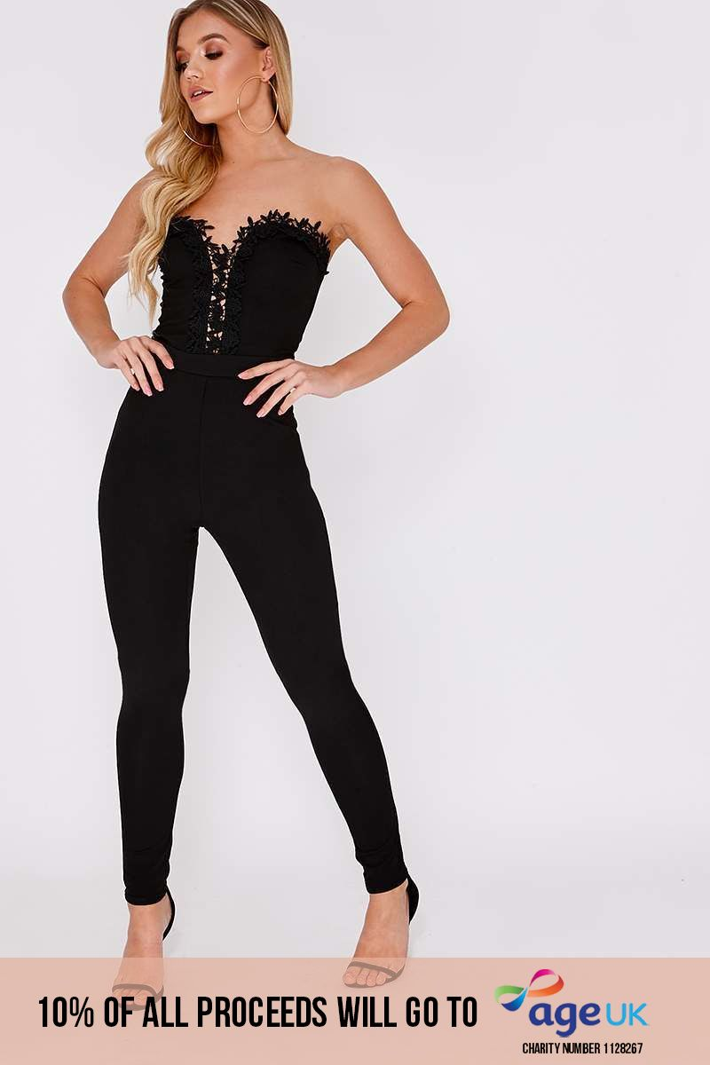 RIDER BLACK CROCHET TRIM BANDEAU JUMPSUIT