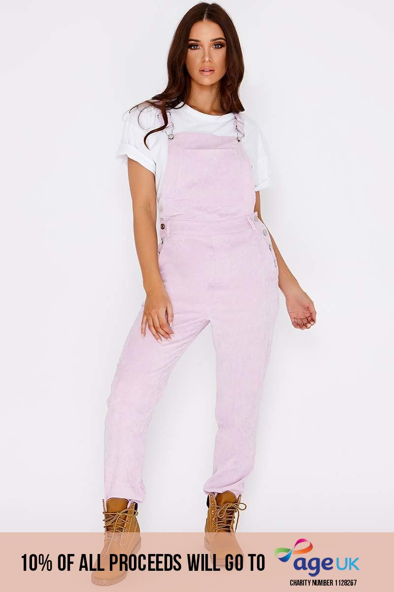 lilac cord cropped dungarees