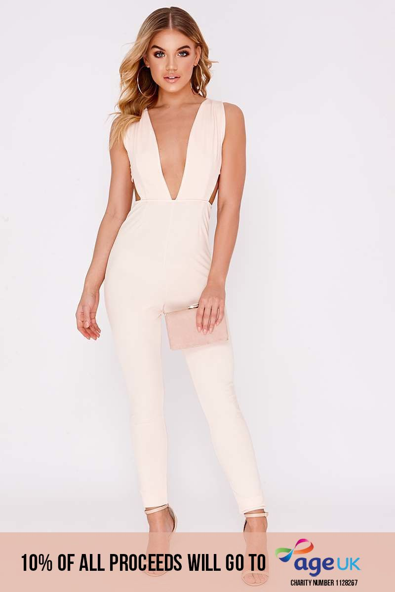 nude plunge cut out panel jumpsuit