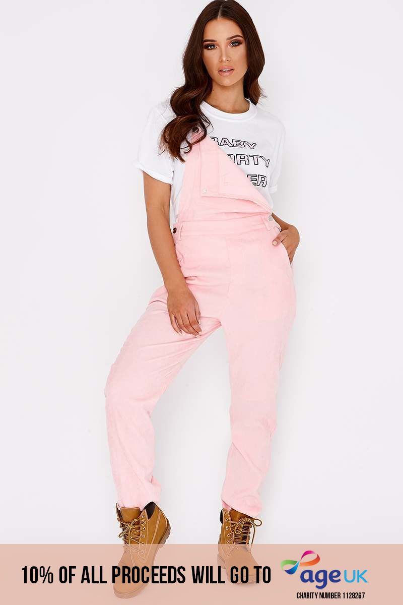 CRESSA PINK CORD CROPPED DUNGAREES