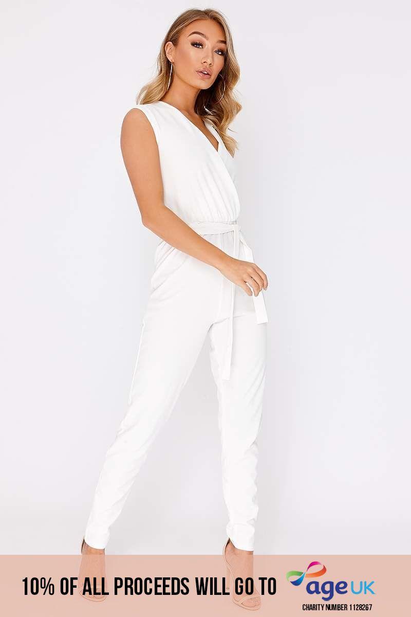 white wrap front cigarette leg jumpsuit