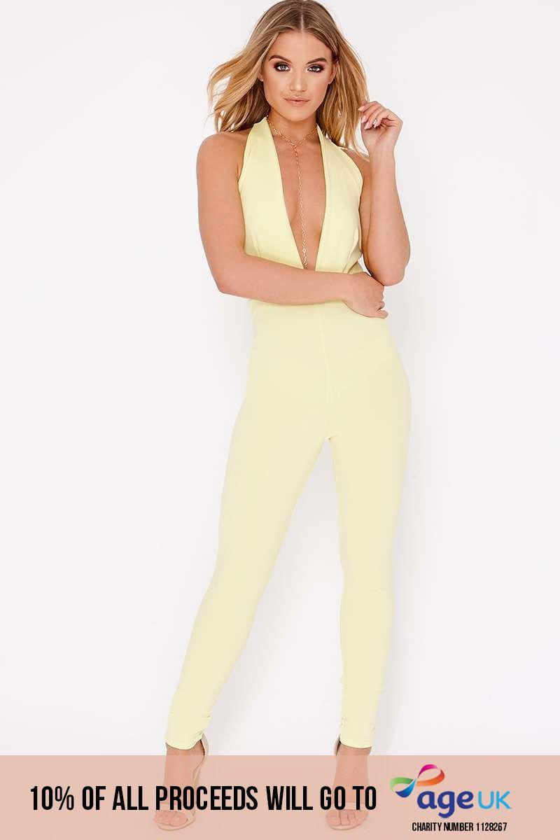 lemon halterneck plunge backless jumpsuit