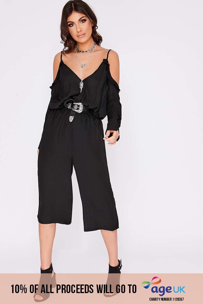 black frill cold shoulder jumpsuit