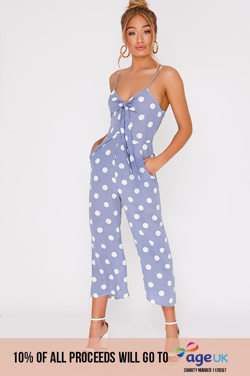 blue polka dot tie front culotte jumpsuit