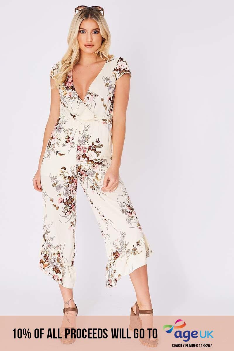 cream floral plunge frill culotte jumpsuit