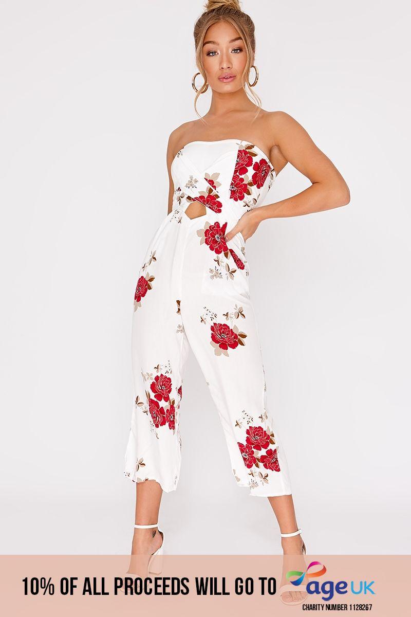 white floral cut out bandeau culotte jumpsuit