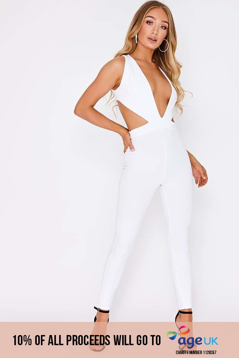 white plunge cut out side jumpsuit