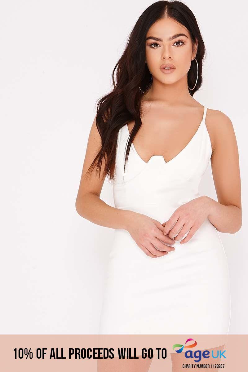 white faux suede underwire mini dress