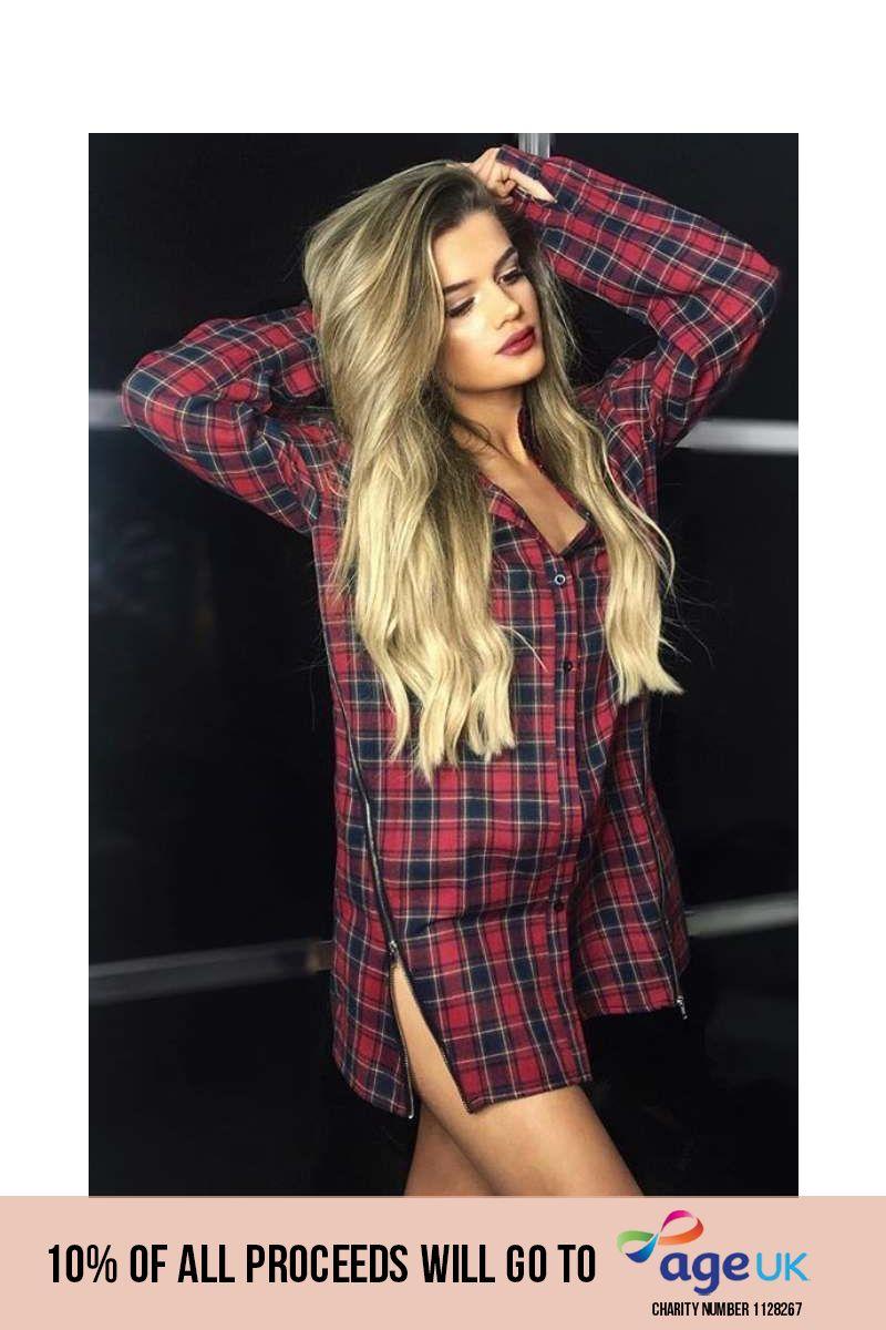 red check zip front shirt dress