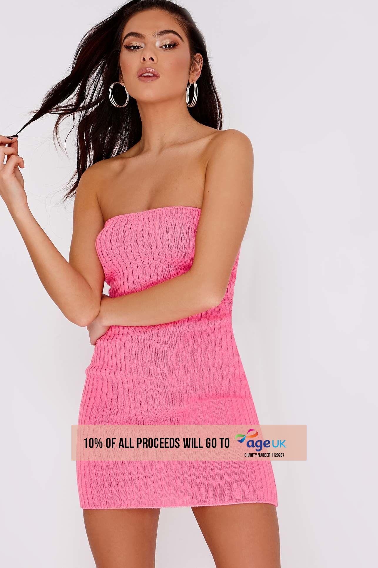 bright pink ribbed bandeau mini dress