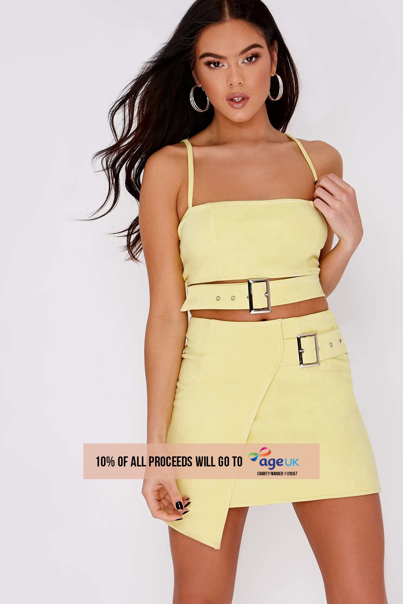 yellow faux suede buckle detail crop top