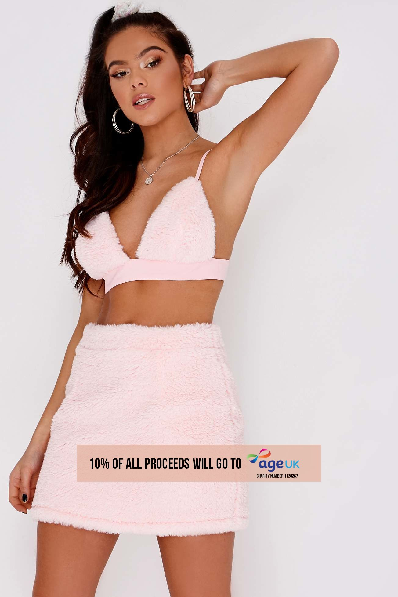 PIA MIA BABY PINK FAUX FUR MINI SKIRT