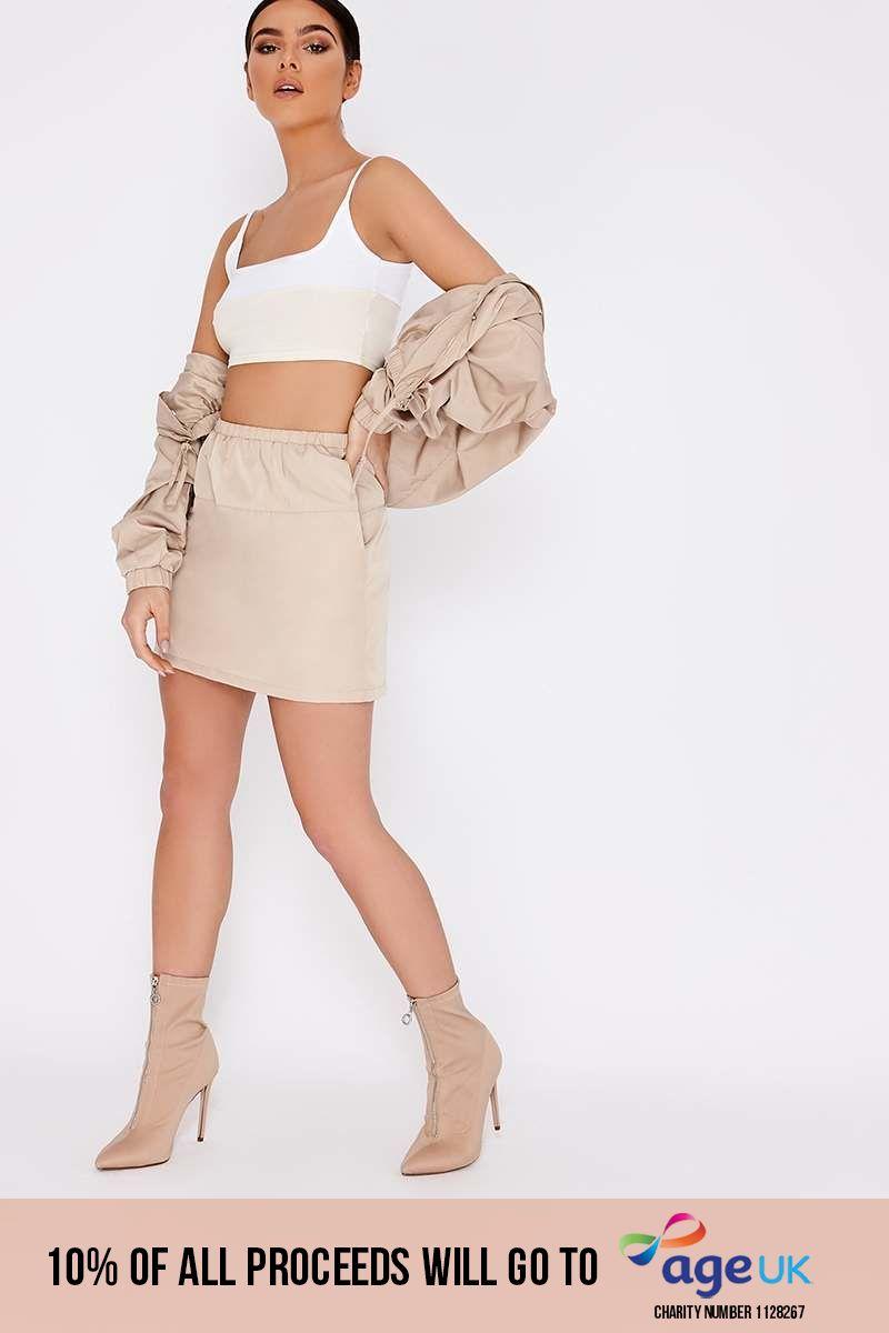 stone windbreaker co-ord mini skirt
