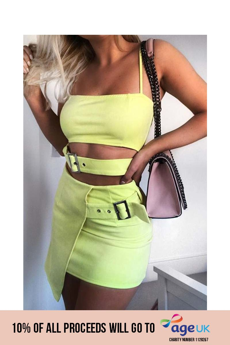 yellow faux suede buckle detail wrap skirt