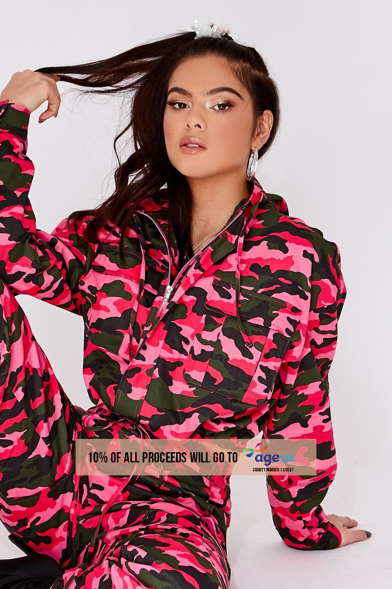 bright pink camo oversized hooded utility jacket