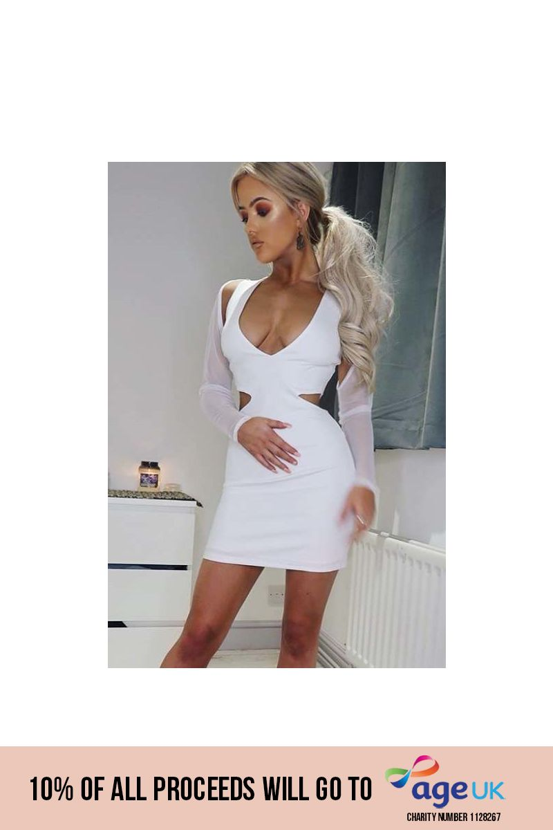 white mesh sleeve mini dress
