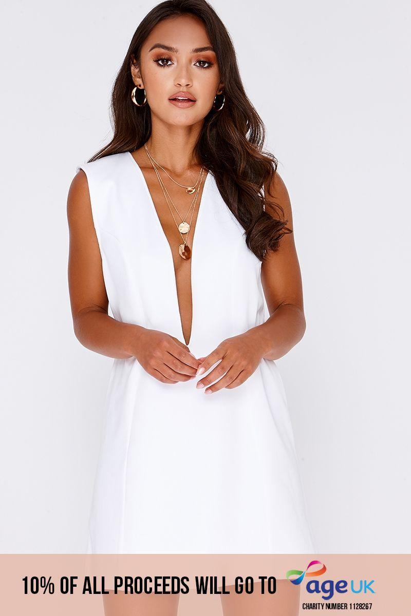 white plunge mini dress