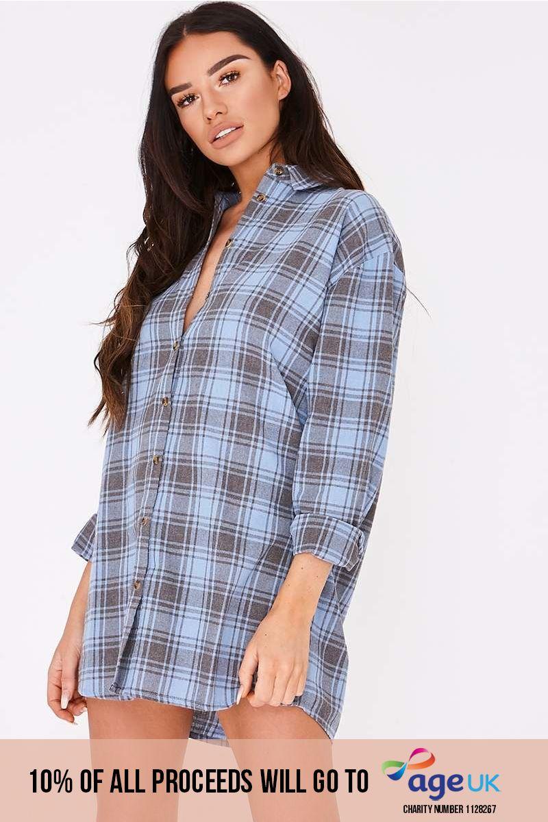 blue checked oversized shirt dress