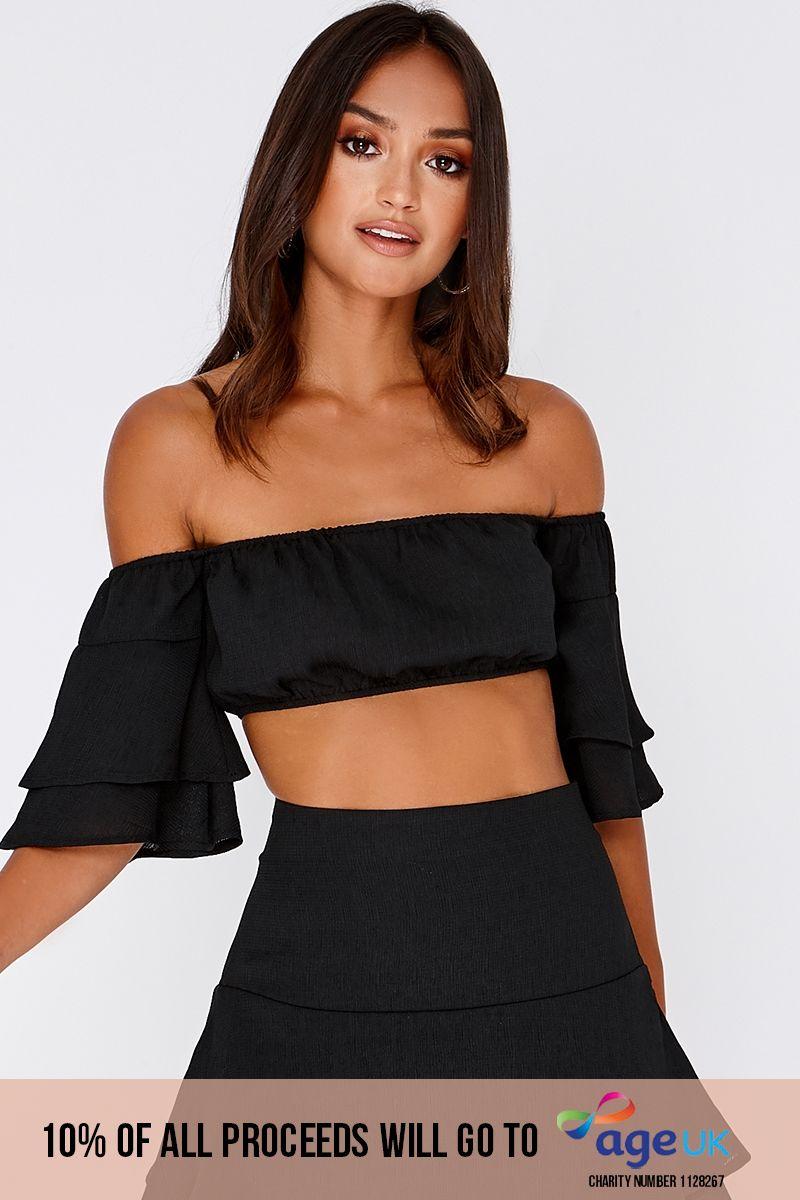 black bardot frill sleeve co-ord crop top
